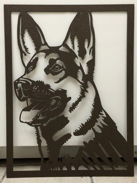 "Large German Shepherd Head - Plasma Cut Metal Sign 24"" tall x 18"" wide"