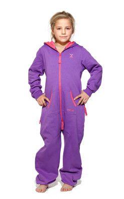 OnePiece Solid Kids Jumpsuit Purple