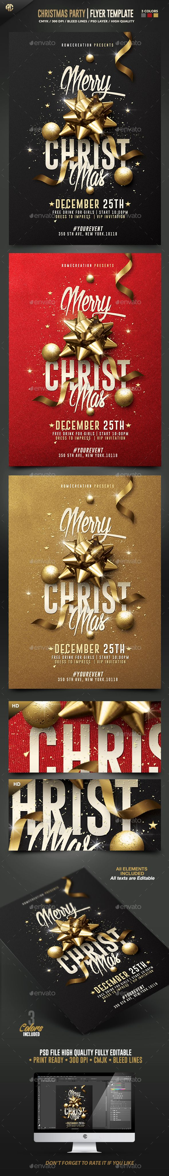 Classy Christmas Party Flyer Template PSD #design Download…