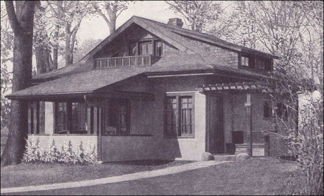 """""""An Easy Housekeeping Cottage for 1800 dollars"""" published in Ladies Home Journal in 1918. Click on the photo to see more photos and a floor plan. It's about 850 sq ft, with several porches, a sleeping porch, and one bedroom upstairs and another downstairs. via http://www.smallhouseliving.org/remodeling/vintage-plans/11od-lhj-white.htm"""
