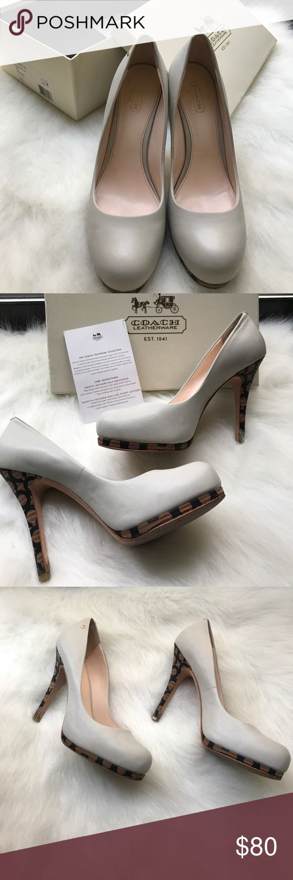 """Coach Off White Leather Signature Cork Heel Pumps Preowned. Size 7.5. The name of these lovelies is Alexa. It's a beautiful off white leather pump with Coach Signature C Embossed in a cork Heel. Heel height measures at 3.5"""" and are very comfortable. There are some signs of wear. The soles as shown in pics. Also the back of the shoe where the leather and cork meets there is a scratch on both pumps. They are real leather so they is also some natural cracking. Can provide more pics if needed…"""