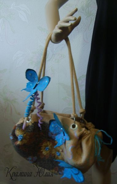 Women Felted handbag- butterfly- Brown-turquoise from YuliasFeltworld by DaWanda.com