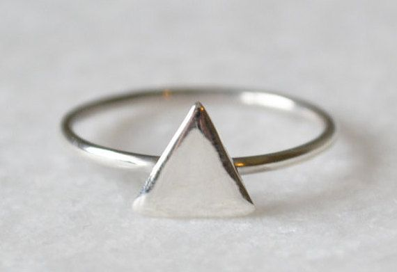 Sterling Silver Geometric Minimalist Triangle Midi Ring by ShopZYLA