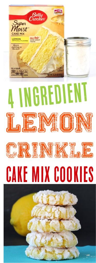 Lemon Cake Mix Cookies Recipe! This easy cookie is just 4 ingredients and so simple to make!