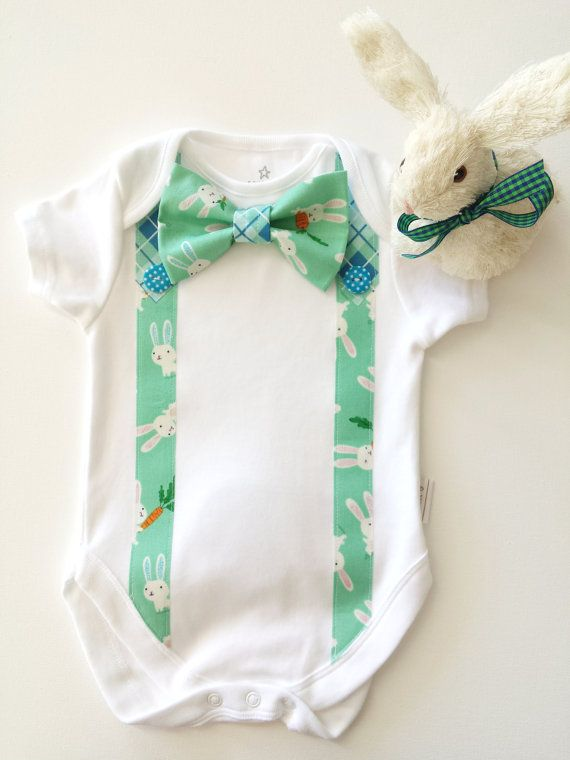 Easter Bunny Boys First Easter Bodysuit Bow Tie by LilBirdieShop