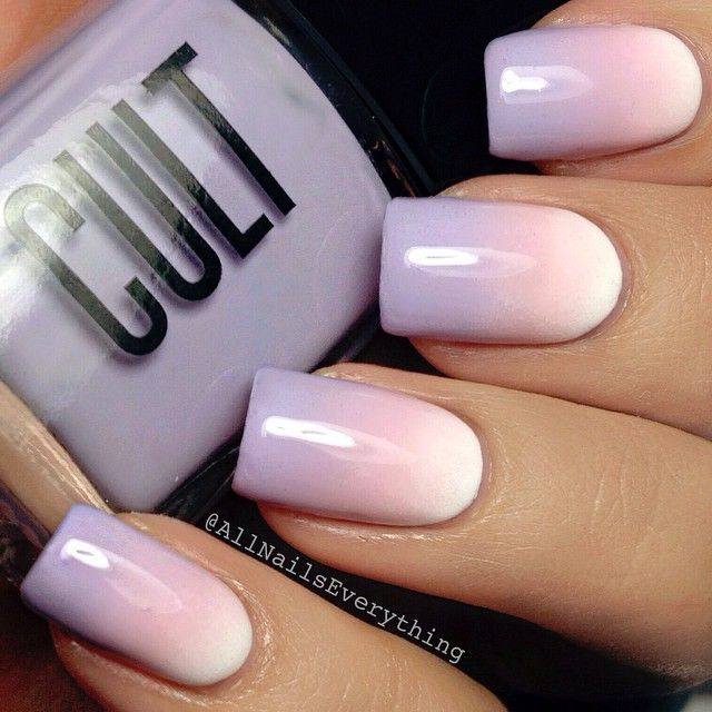 """My #notd: simple gradient using @cultcosmetics' El Porto, The Roxy, & @essiepolish's Neo Whimsical. I love the beautiful soft purple shade, The Roxy, which is a brand new shade that can be found on @cultcosmetics' website. Use my promo code """"AllNailsEverything"""" for a 15% off discount  Hope you lovelies are doing great!"""