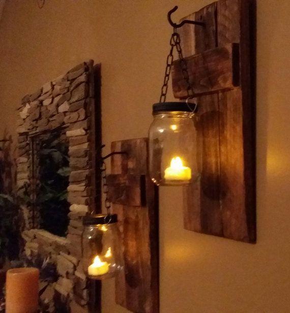 Einmachglas Holz Kerzenhalter, rustikale Dekor, Wandleuchter Kerzenhalter, Maurer ja …   – Decor