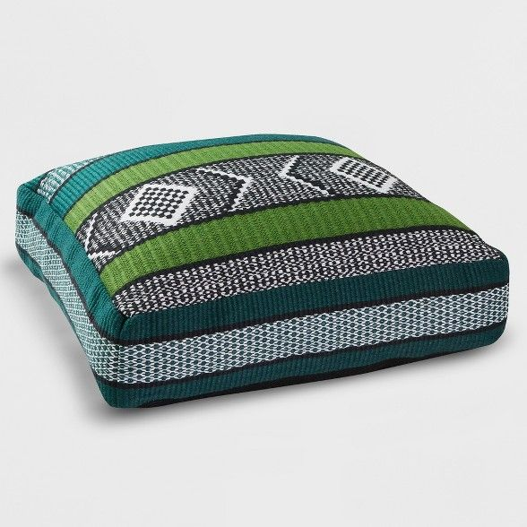 Woven Outdoor Floor Cushion Green Black Opalhouse Outdoor Floor Cushions Floor Cushions Striped Outdoor Pillow
