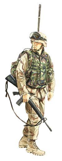 Operador de radio, US Marine Corps, Irak, 2003.