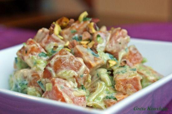 Édesburgonya saláta pisztáciával - gréta konyhája