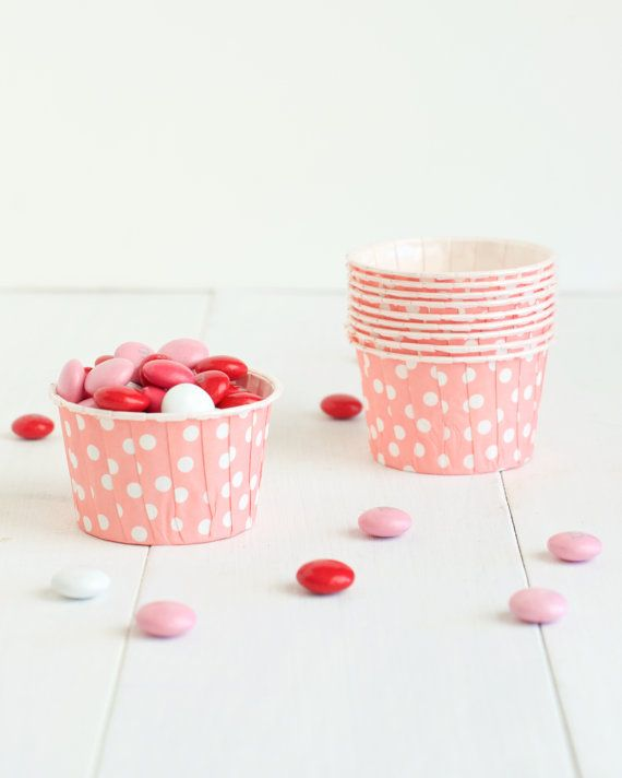Pink Lemonade Birthday Party- Pink and White Polka Dot Dot Mini Candy Cups- Set of 10 Polka Dot Candy Cups - Perfect for Valentine's Day parties or pink birthday parties!
