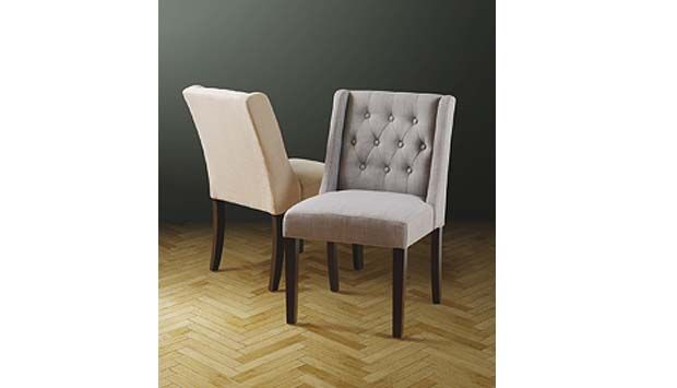 Featuring button detailing, the Wing chair from My Furniture is available in beige and grey linen-effect fabric.