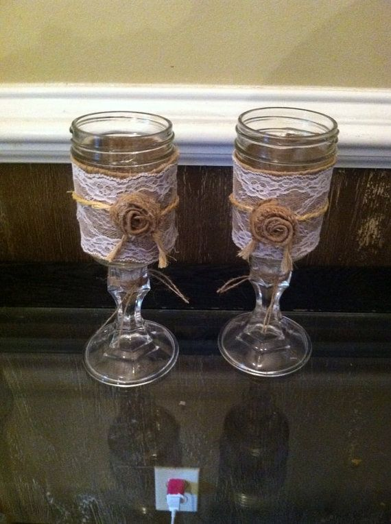 25 best ideas about rustic wine glasses on pinterest decorations for home diy interior and - Mason jar goblets ...
