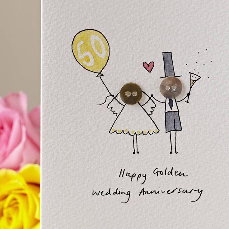 Personalised 'Button Anniversary' Handmade Card