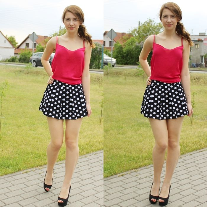 polka dot mini skirt/shorts outfit /style