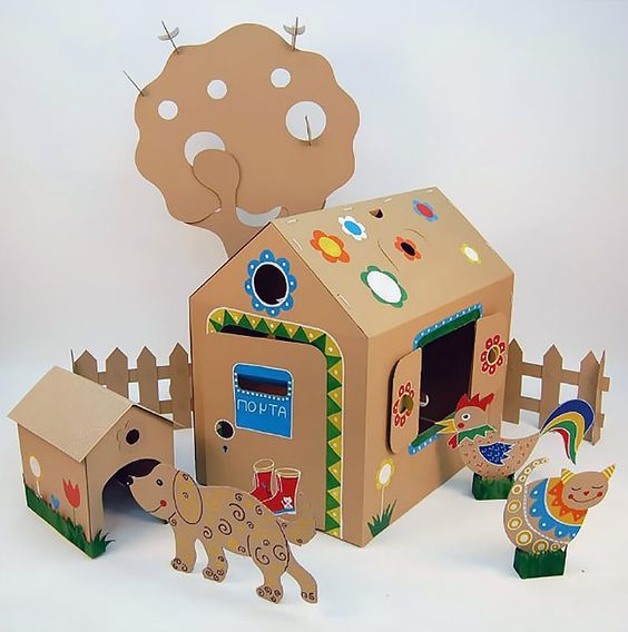 DIY Cardboard House Scene by Cardboard Dad