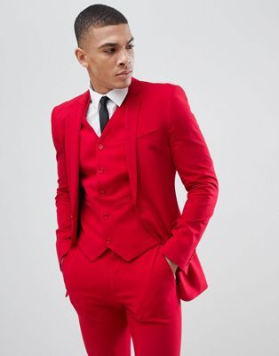 0c61073115 DESIGN super skinny suit jacket in red in 2019 | prom | Red suit ...
