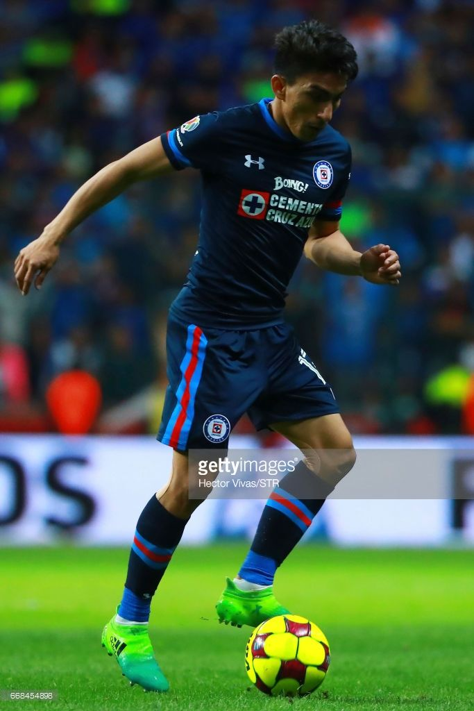 Angel Mena of Cruz Azul drives the ball during the 10th round match between Toluca and Cruz Azul as part of the Torneo Clausura 2017 Liga MX at Nemesio Diez Stadium on April 13, 2017 in Toluca, Mexico.