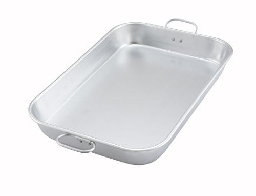 """Winco ALBP-1218, 17-3/4""""L x 11-1/2""""W x 2-1/4""""H Aluminum Bake And Roasting Pan With Drop Handle, Commercial Grade Roasting Baking Pan"""