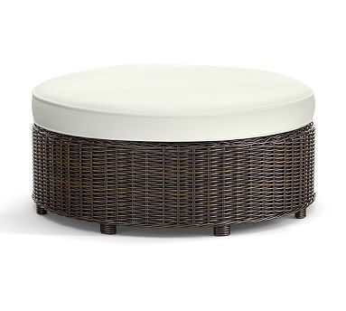 Torrey Round Ottoman Cushion Slipcover, Sunbrella(R) Natural Sunbrella Part 70