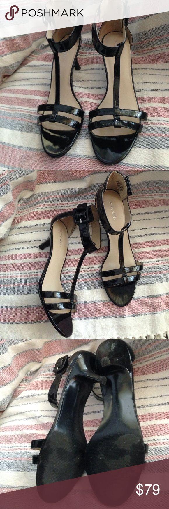 Nine West patent black sandals size 9.5 Nine West patent black sandals size 9.5 kitten heels Nine West Shoes Sandals
