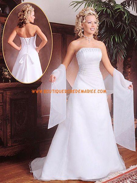 Robe de mariée bustier drapé satin organza