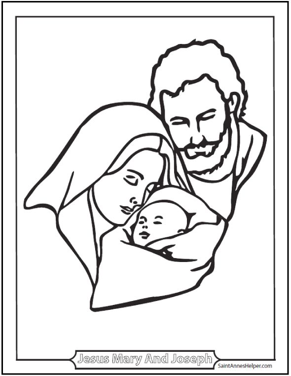 Jesus Mary And Joseph Coloring Page The Holy Family SaintAnnesHeper