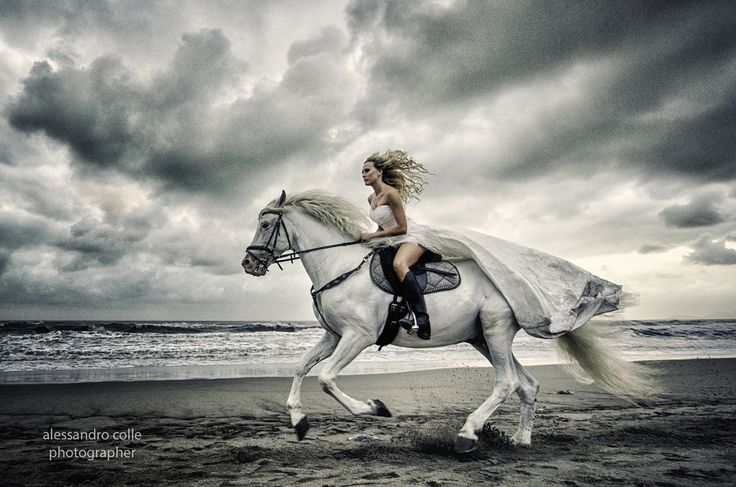 Bride on the beach with horse I'd love this kind of picture, but in a field not the beach
