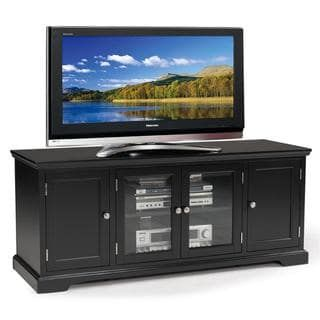 shop for black hardwood 60inch tv stand get free shipping at overstock