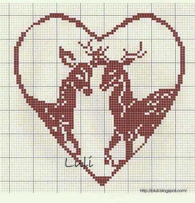 animaux - animals - cerf - point de croix - cross stitch - Blog : http://broderiemimie44.canalblog.com/