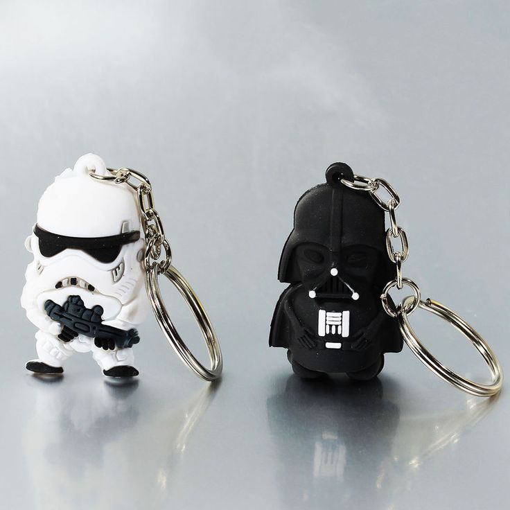 Star Wars Keyrings - Rubber 3D - White Foot Soldier - Darth Vader - Gift NEW