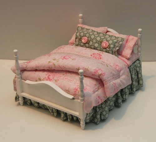 Dollhouse Miniature Pink Green Cabbage Roses Custom Dressed Double Bed | eBay $69.99 + shipping