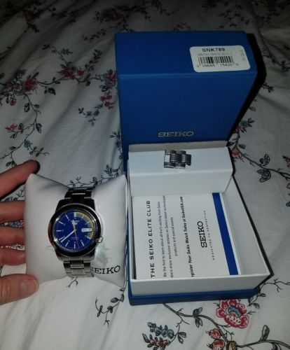 SEIKO 5 SNK789 Automatic Men's Watch Stainless Steel 21 Jewels Blue/Yellow Face