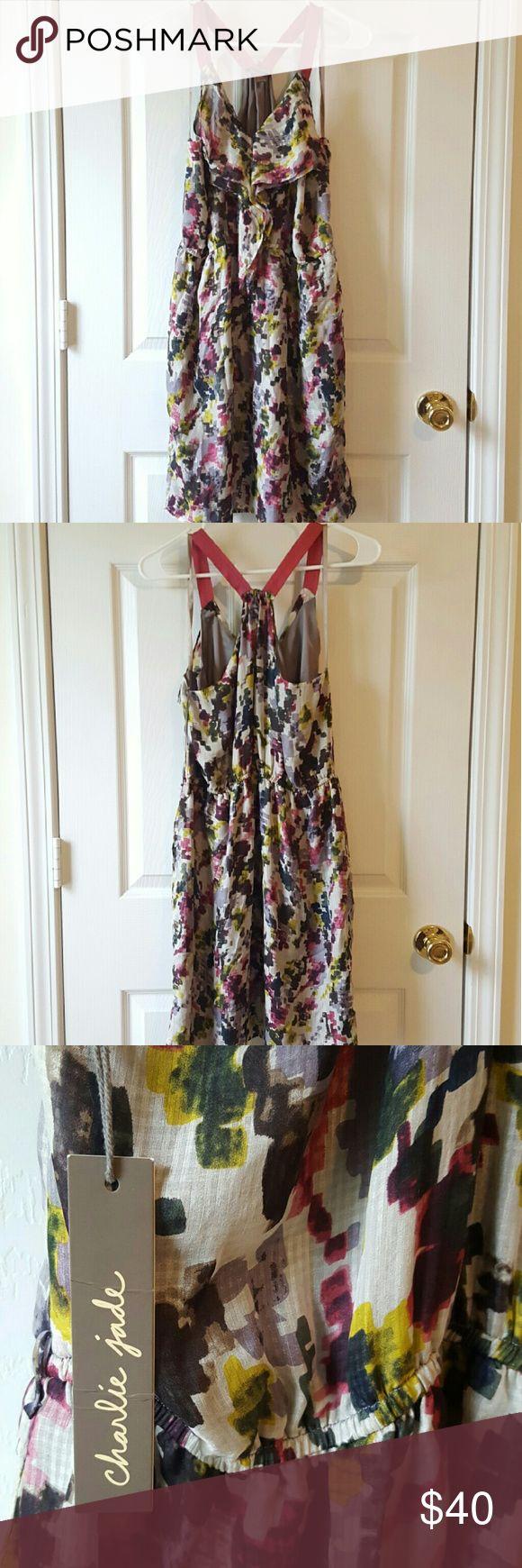 Charlie Jade Ruffled Silk Racer back Dress sz L Sold at Nordstrom.  NWT sz. L 100% Silk Charlie Jade  Dresses Mini