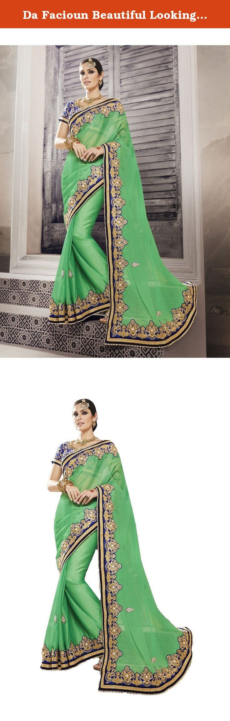 Da Facioun Beautiful Looking Chiffon Green Women Ethnic Saree 79438. Appear stunningly pleasing in this Parrot Green Chiffon Saree. The attractive Lace Embroidery work through the attire is awe-inspiring.