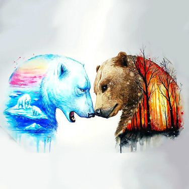 Grizzly With Polar Bear Tattoo Design