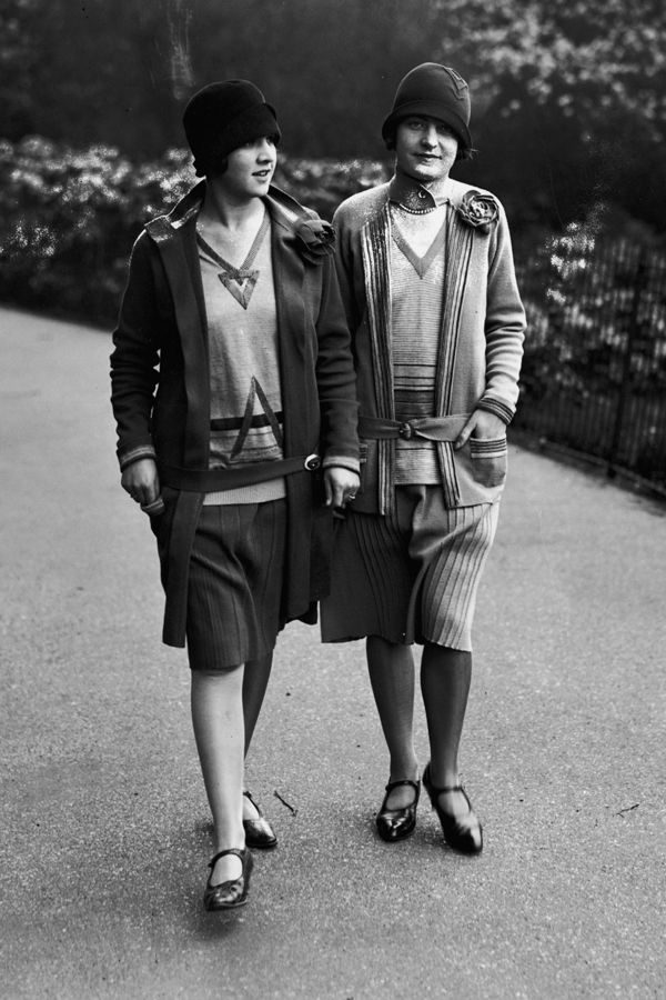 1928: Another stylish duo that prove collegiate sweaters and pleated skirts didn't debut last fall — they were around in the '20s!: