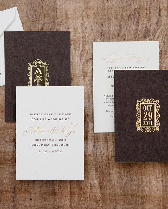 There's no better way to set the stage for your big day than to send out spectacular save-the-dates. A great save-the-date provides your guests a sneak peek of what's to come. Whether it's a charming woodland wonderland or a Tuscan-inspired affair, we're spotlighting our favorite save-the-dates for rustic weddings!Regal Wood-Grain Save the DateAn elegant wood grain-inspired backer is glammed up with gold foil stamping in this save-the-date fromCheree Berry Papers.