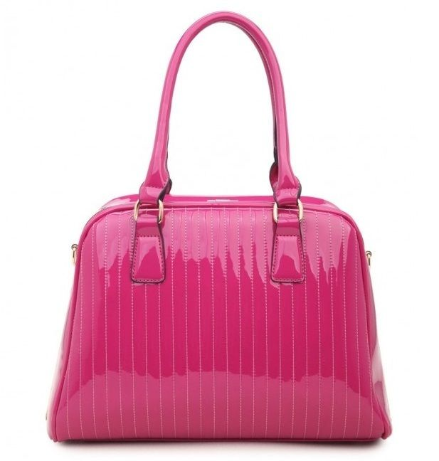 PINK - Classic Cora Plain Patent Tote Handbag With Straight Lining Detail - The Handbag Hut