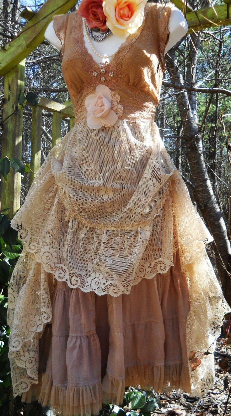 Beige  lace dress  wedding bridesmaid rustic shabby boho rose  vintage   romantic medium by vintage opulence on Etsy. $150.00, via Etsy.