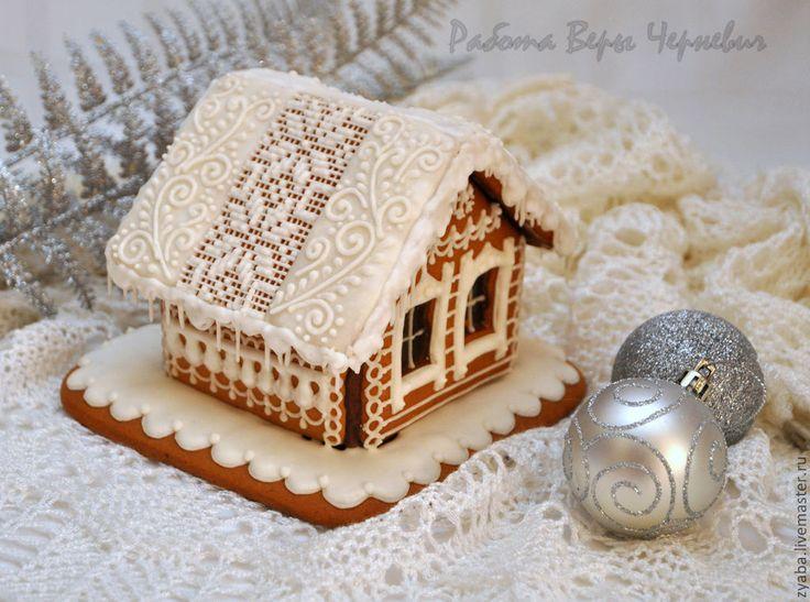 """Купить """"Кружева"""" пряничный домик - оригинальный подарок на новый год - пряничный домик, пряник, расписные пряники"""