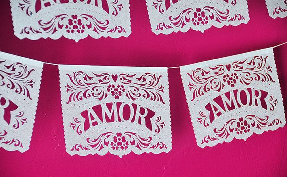 Papel Picado Banner AMOR FILETEADO. custom color