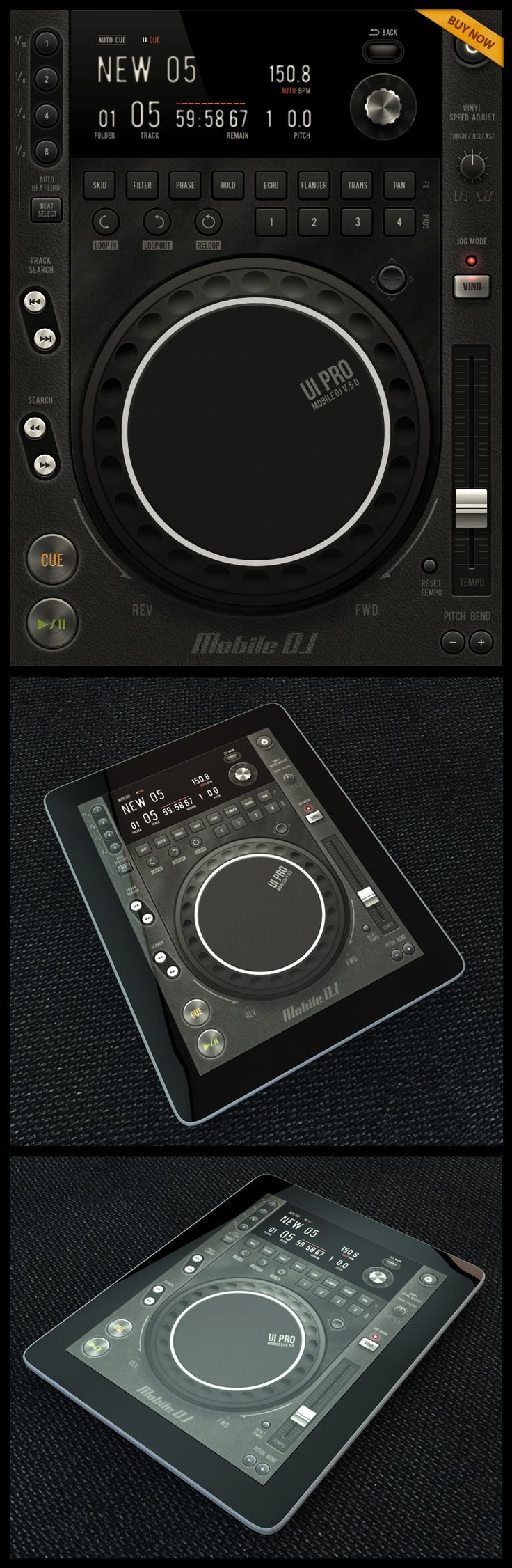 Mobile DJ Tablet UI