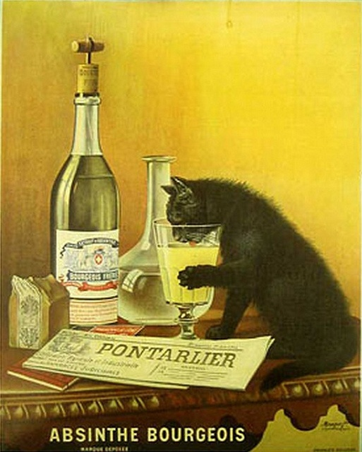 old posterad for Pontarlier absinthe Bourgeois