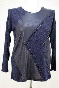 Taşlı Deri Detaylı Lacivert Bluz