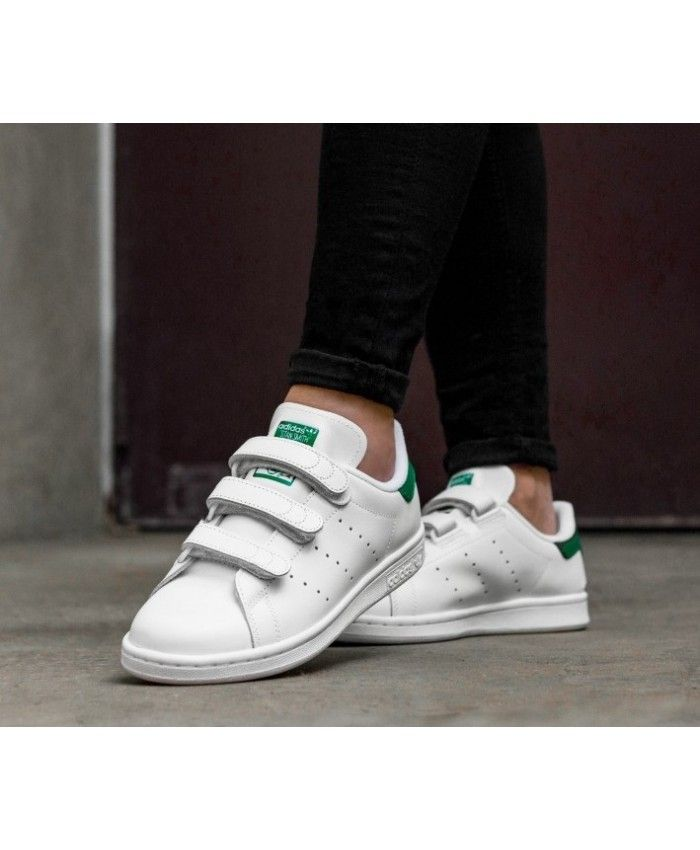 Adidas Stan Smith Velcro White Green Trainers | Pinterest in