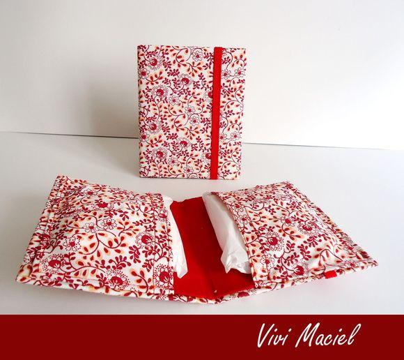 Porta Absorvente em cartonagem e tecido de algodão. Disponível em outras estampas. R$ 10,00