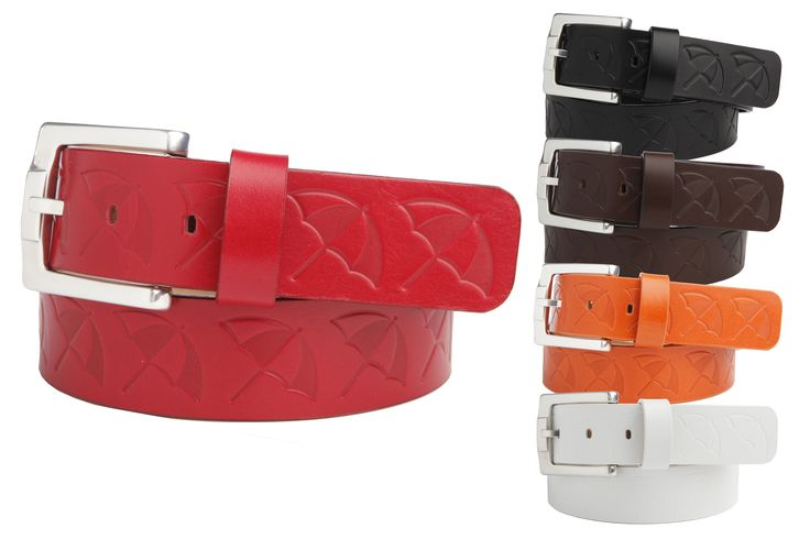Leather Strap Belt featuring an Embossed Arnie™ Umbrella Logo and a Tumbled Silver Finish Buckle - $65.00 - Arnie™ Belts