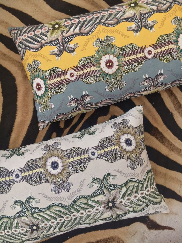 Here's a close-up of two of our Bush Bandits colourways as scatter cushions - Butter Dust on top and Stone.