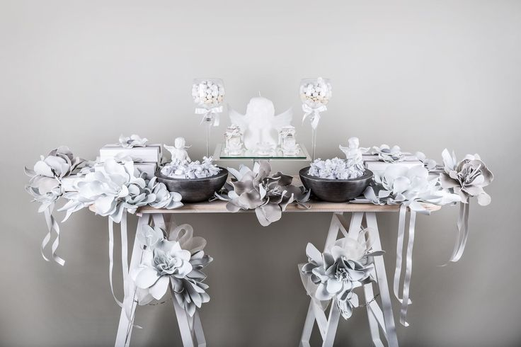 White & grey display with angel candle center piece